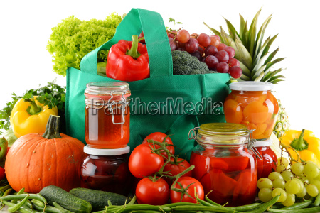 composition with shopping bag and organic
