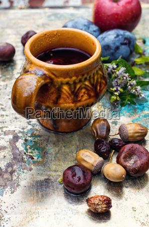 autumn still life with tea