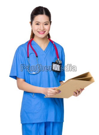female doctor hold with folder