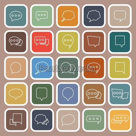 speech bubble line flat icons on