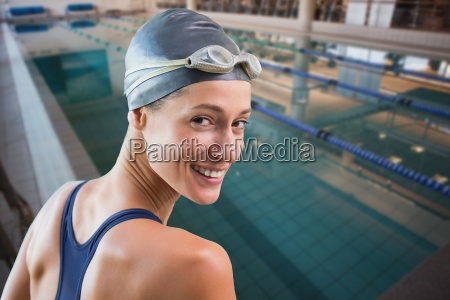 composite image of pretty swimmer by