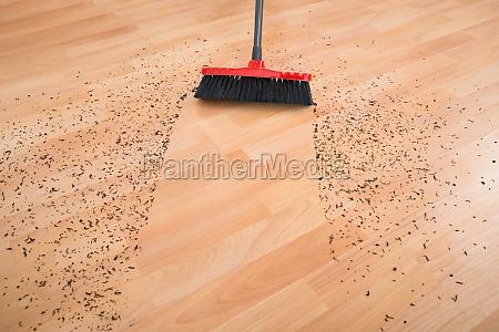 broom cleaning dirt on hardwood floor