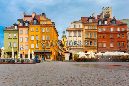 castle square in the morning warsaw