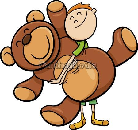 boy with big teddy cartoon