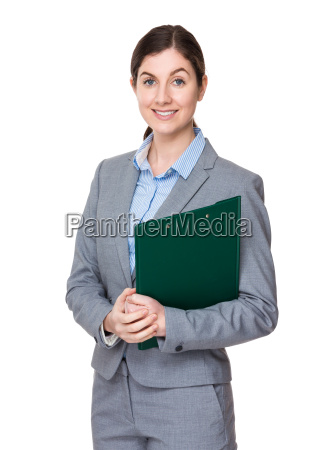 caucasian businesswoman with clipboard