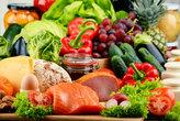 organic food including vegetables fruit bread