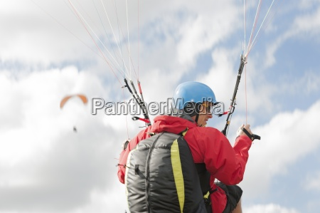paraglider up in the air in