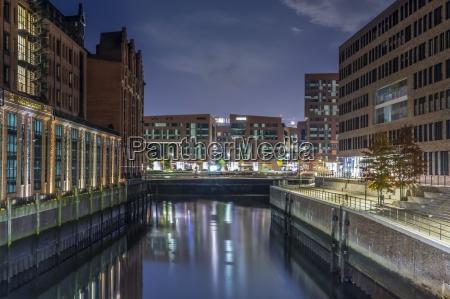 germany hamburg hafencity buildings at night