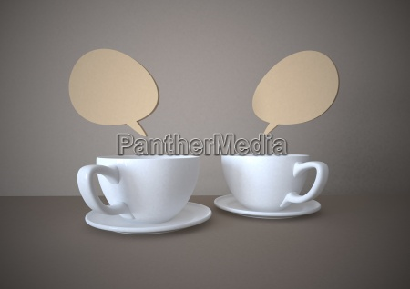 coffee cups with speech bubbles illustration