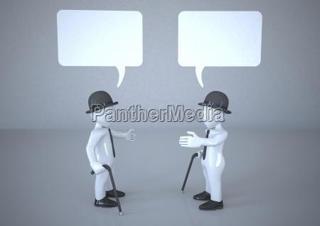 two manikins talking with speech bubbles