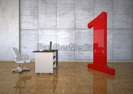 business room with huge red number