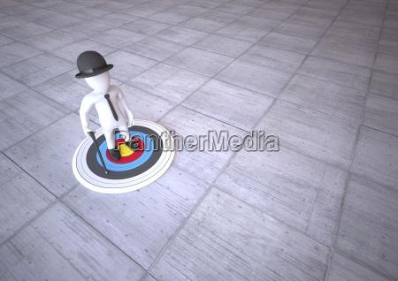 manikin standing on target 3d illustration