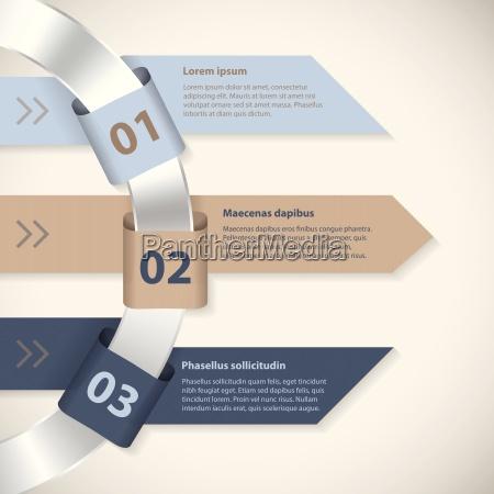 arrow ribbons around metallic ring infographic