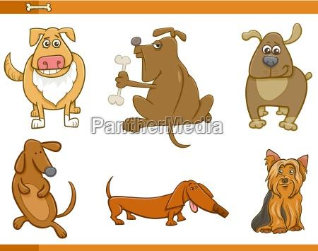 cartoon dog characters set