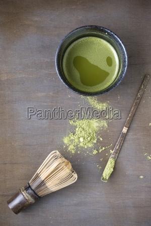bowl of matcha matcha whisk spatula