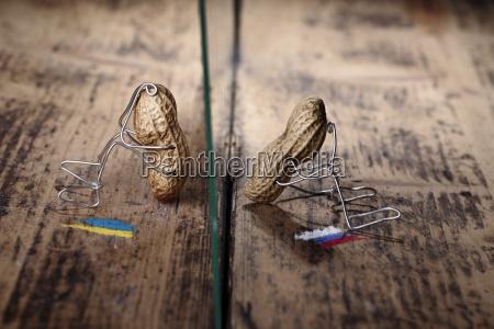peanut manikins with ukrainian and russian