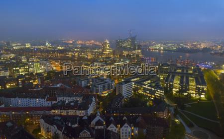 germany hamburg cityscape at night