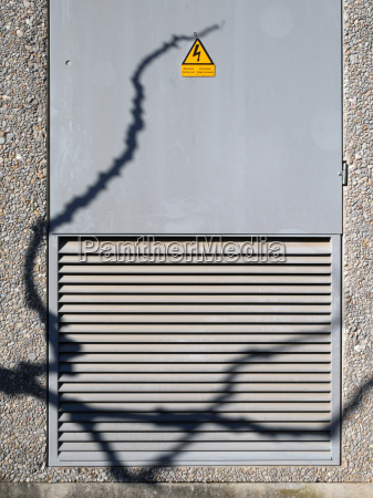 junction box with high voltage sign