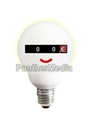 energy saving bulb with power meter