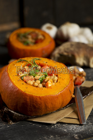 baked hokkaido pumpkins filled with beans