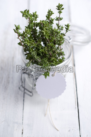 fresh thyme in a preserving jar