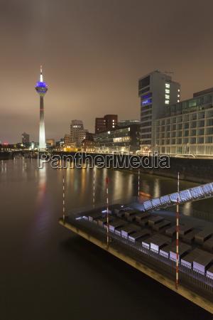 germany duesseldorf media harbor at night