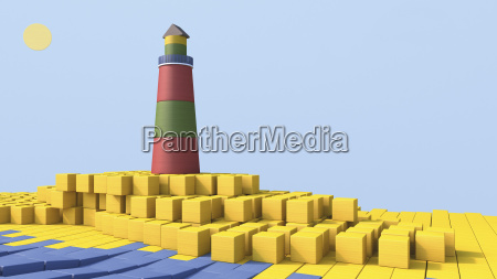 3d rendering of lighthouse by the