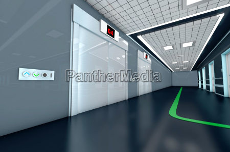 corridor with guidance system in a