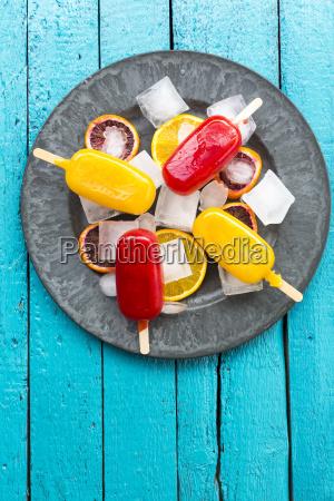 ice lollies with blood orange