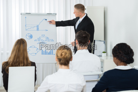 businessman explaining business chart to his