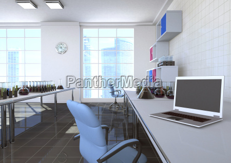 3d illustration chemistry room with notebook