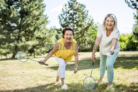 two happy mature women on a