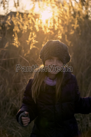 portrait of girl in autumn at