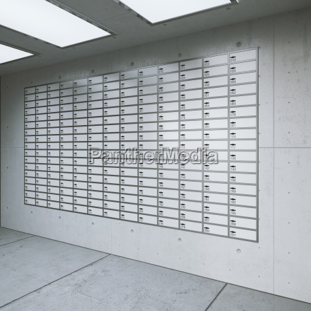 wall with lockers in a room