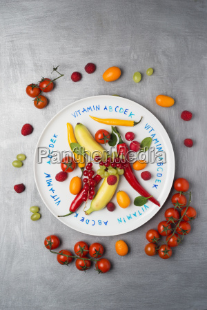 different fruits and vegetables on plate