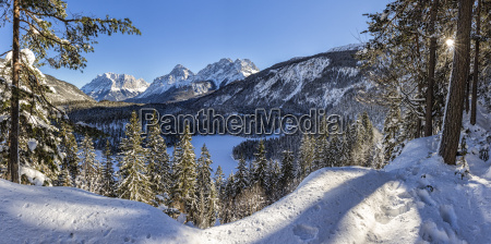 austria tyrol frozen blindsee lake with