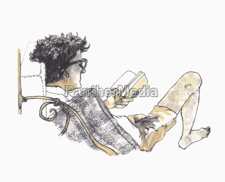 illustrative image of man reading book