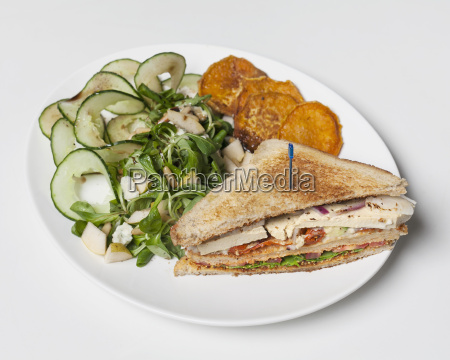 high angle view of sandwich by