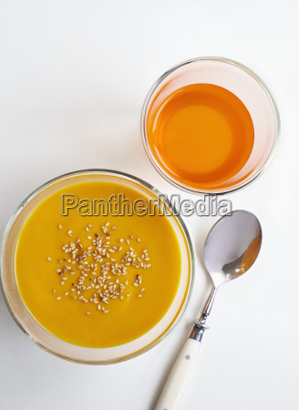high angle view of carrot puree