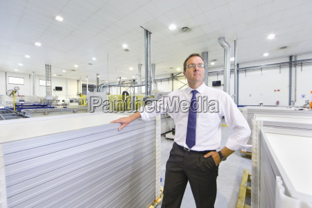 portrait of businessman owner with solar