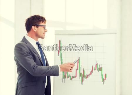 man pointing to flip board with