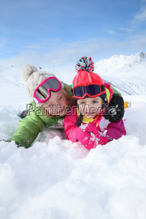 portrait of kids enjoying winter vacation