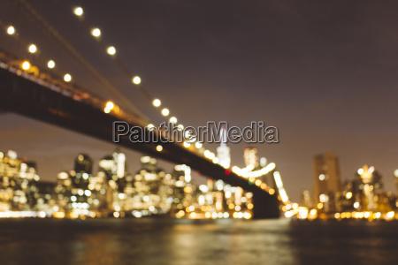 usa new york city blurred skyline