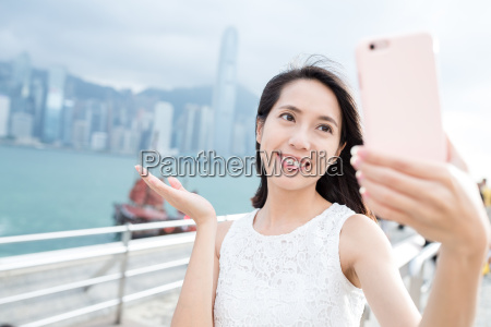 woman taking picture by her self