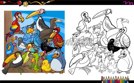 bird characters coloring book