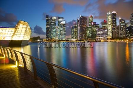 skyline across marina bay singapore southeast
