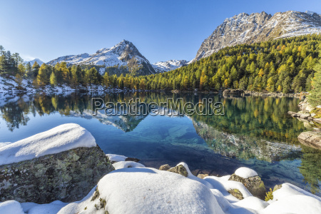 colorful woods and snowy peaks reflected