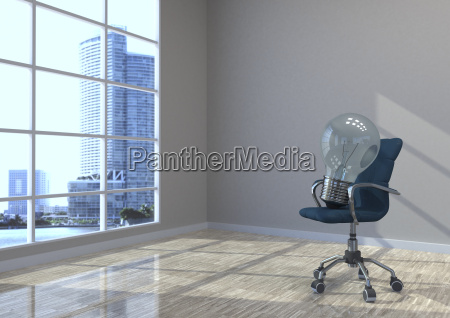 3d illustration swivel chair with bulb