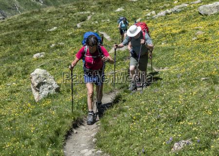 switzerland maountaineers hiking near chanrion hut