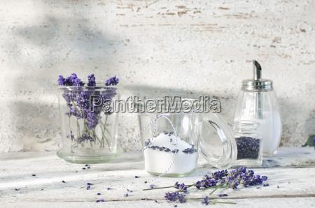 glass of lavender sugar
